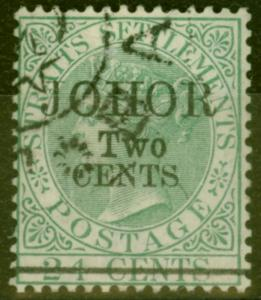 Johore 1891 2c on 24c Green SG20 Type 20 Superb Used