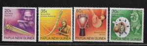 Papua New Guinea 746-749 (4) Set H 1990 Musical Instruments