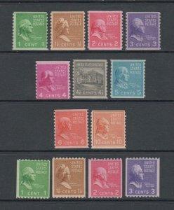 US,839-851,MNH,COILS FULL SET,PREXIE,1938 PRESIDENTIAL SERIES MINT NH,OG