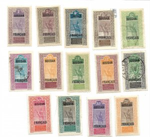 FRENCH SUDAN SCOTT 21-35, 42 IN VARIOUS CONDITIONS