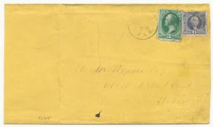 US Scott #115 & 147 Tied to Cover Black CDS Cork Cancels Triple Rate Topeka, KN