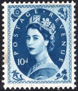Great Britain #304 10d Queen Elizabeth II: Predecimal Wilding Single (1954) MNH