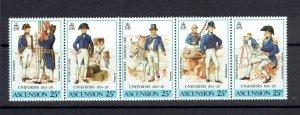 ASCENSION ISLAND - 1987 MILITARY UNIFORMS - STRIP OF 5 - SCOTT 425 - MNH