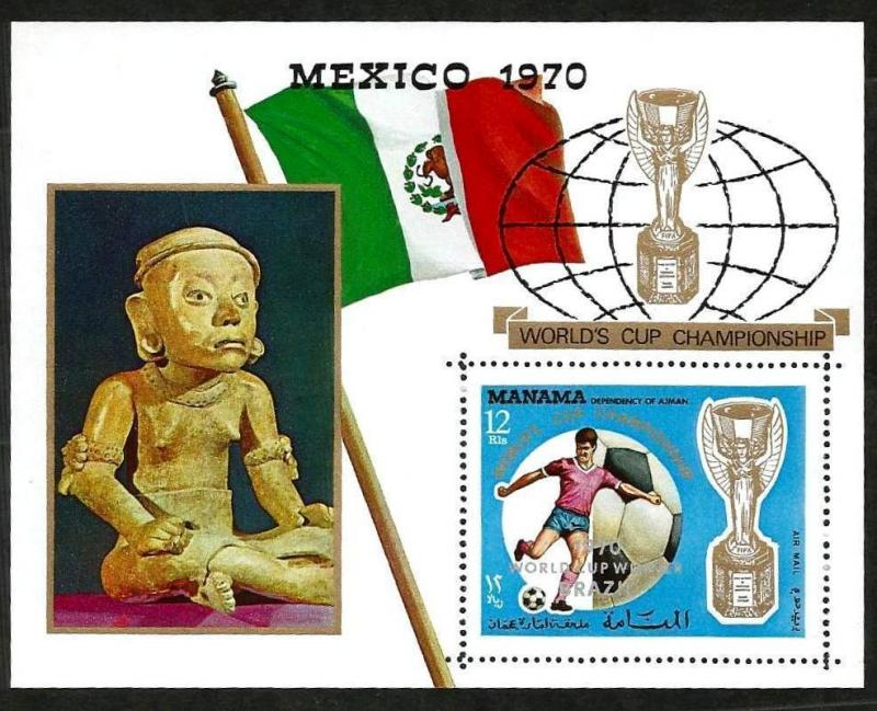 MANAMA - 1970 - SOCCER - WORLD CUP - MEXICO - BRAZIL OVPT - PERF MNH S/SHEET!
