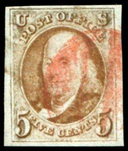 HERRICKSTAMP UNITED STATES Sc.# 1b Orange Brown VF Used, Large Margin