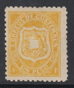 Guatemala 1873 1p Dull Yellow MNG. Scott 6