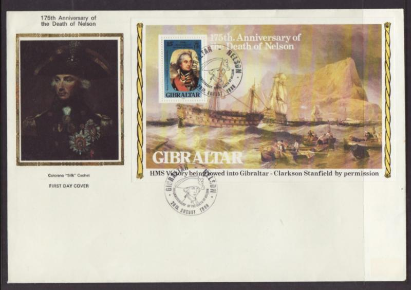 Gibraltar 396a Death of Nelson Ships Colorano Label FDC