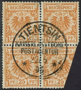 GERMANY CHINA 1886 EAGLE 25PF BLOCK USED IN TIENTSIN CHINA