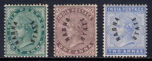 INDIA (NABHA STATE) — SCOTT 1//3 — 1885 QV ISSUE — MH — SCV $126