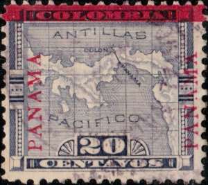 PANAMA - 1904 - Mi.55.III - 20c violet Map O/P going up left & right - VF Used
