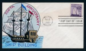 U.S. 1095 Wm. Wright hand painted FDC,Ship Building