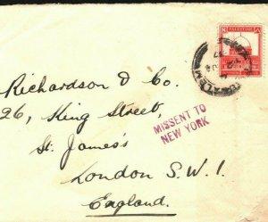 PALESTINE MISSENT COVER USA *New York* In Violet GB London 1937 {samwells}W397