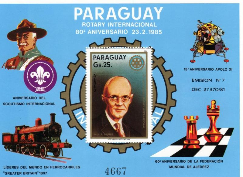Paraguay 1985 CHESS/ROTARY/TRAINS/SCOUTS 2SS Mi.Bl.412/3 MNH