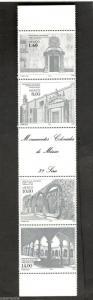 1982 Mexico SC #1306a MONUMENTOS COLONIALES DE MEXICO MNH strip