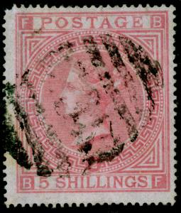 SG127, 5s pale rose plate 2, FINE USED. Cat £1500. BF