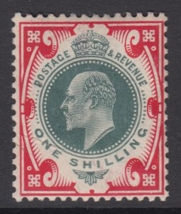 SG 259 1/- Dull Green & Scarlet M46 (3) in average mounted mint condition .