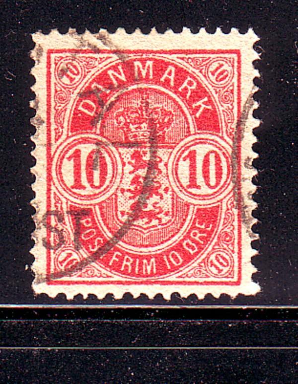 Denmark Sc 39 1885 10 ore carmine Arms stamp used