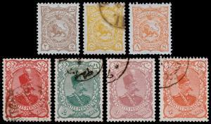 P ersia Scott 137, 140-141, 145-148 (1899) Used/Mint H F-VF, CV $66.50 B