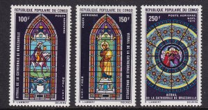 Congo, People`s Republic   #C104-C106  MNH  1970 stained glass windows
