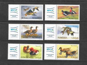 BIRDS - ROMANIA #7968-73 DUCKS WITH LABEL  MNH