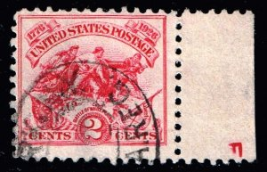 US STAMP #629 – 1926 2c Battle of White Plains imprint used stamp