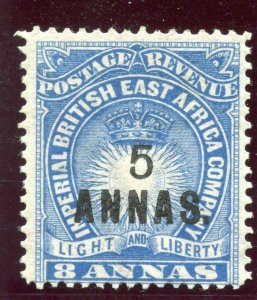 British East Africa 1894 QV 5a on 8a blue MLH. SG 27. Sc 36