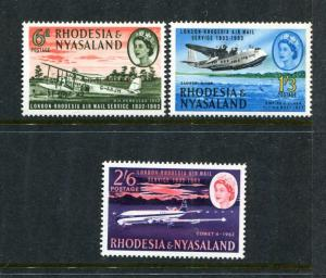 Rhodesia & Nyasaland 180-182, MNH, DH Hercules Biplane x29969