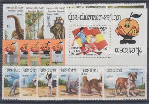 Laos Sc 355/410 MNH. 1982-1983 issues, 3 cplt sets + Souvenir Sheet, VF