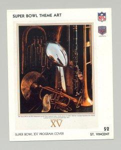 St Vincent #1439 Super Bowl XV Program Cover Art 1v S/S Imperf Chromalin Proof