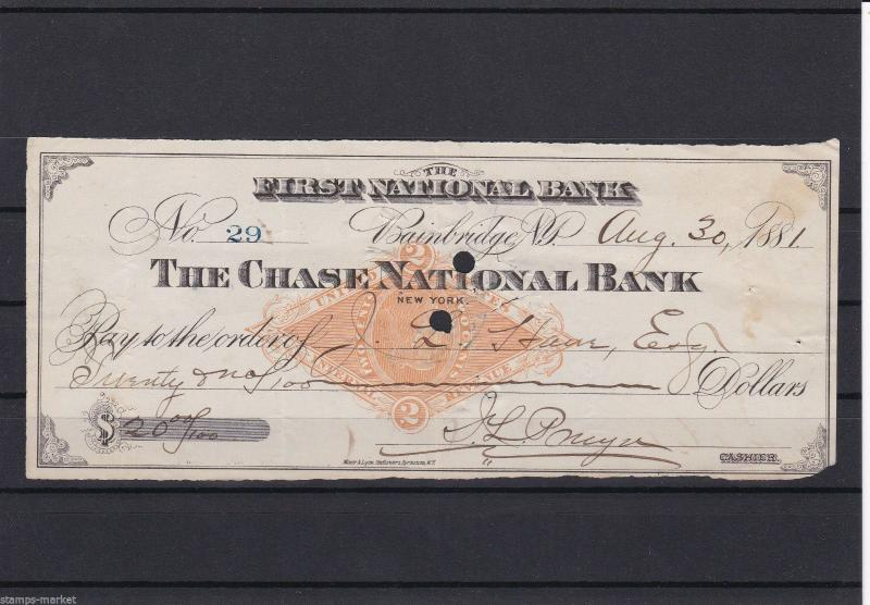 UNITED STATES FIRST NATIONAL BANK NEW YORK 1881 CHEQUE .REF 1137