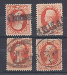 US Sc 183 used 1879 2c vermilion Jackson, 4 stamps w/ diff Chicago cancels