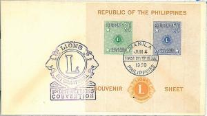 LIONS  -  SOUVENIR SHEET on  FDC FIRST DAY COVER : PHILIPPINES 1950