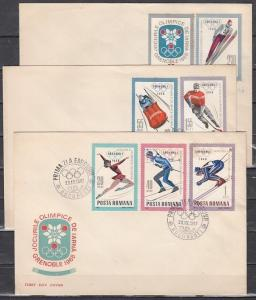 Romania, Scott cat. 1951-1957. Grenoble Olympics issue. 3 First day Covers.