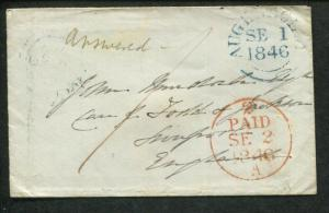 Stampless Cover - 1846 Aughnacloy N. Ireland to Liverpool England S1005