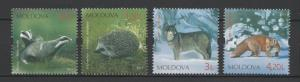 Moldova 2011 Fauna Animals The Red List of Moldova, 4 MNH stamps