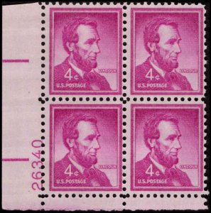US #1036a ABRAHAM LINCOLN MNH LL PLATE BLOCK #26340 DURLAND .50¢