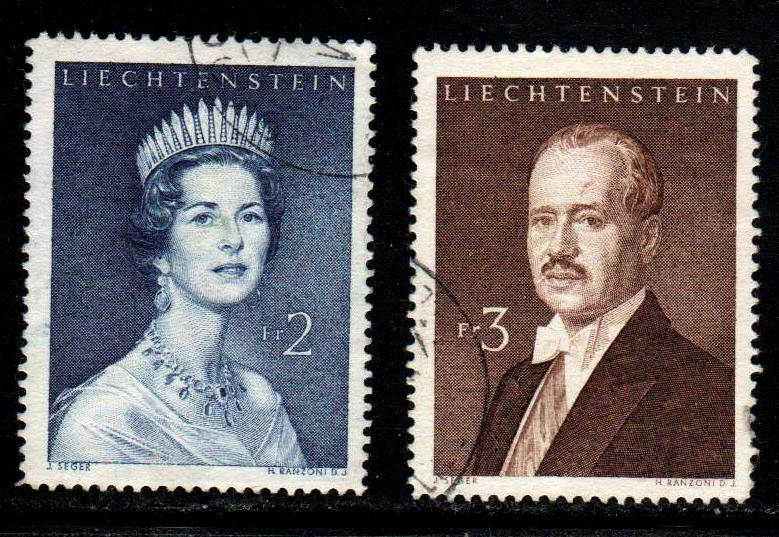 Liechtenstein # 357-58 ~ Short Set 2 of 3 ~ Used, HMR ~ cv 4.00