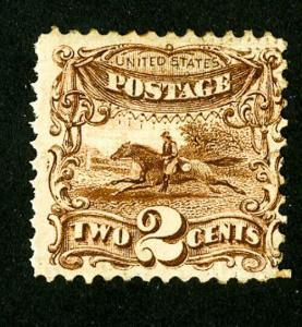 US Stamps # 113 Fine OG H Clear 3 grills on reverse deep color