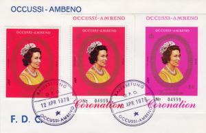Timor (Ocussi-Ambeno) 1978 Coronation 25th.Anniv. Set+2 S/S Official FDC