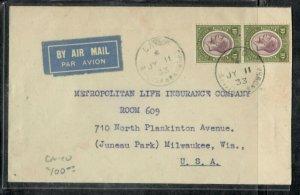 BRITISH HONDURAS COVER (P0506B)  1933  KGV 10C PR A/M COVER CAYO TO USA