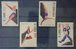 Match Box Labels ! sport olympic games 1962 athletics race GN21
