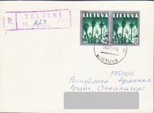 LITHUANIA LIETUVA 1991 REGISTERED COVER TO NAGORNO KARABAKH ARMENIA 15624