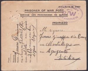 ALGERIA 1944 British POW card from Italian Prisoner to Italy...............53669