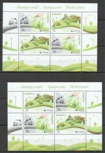 RM126 2016 ROMANIA NATURE THINK GREEN EUROPA CEPT BL666(I+II) MICHEL 48 EURO MNH