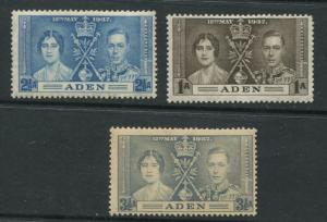 ADEN - Scott 13-15 - Coronation Issue - 1937- MVLH - Set of 3 Stamps