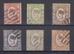 BC LABUAN 1892 QV Sc 33-34 & 36-39 TOP VAUES FORGERIES USED (CV$117.50)
