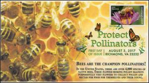 17-196, 2017, Protect Pollinators, Honey Bees, Digital Color Postmark, FDC