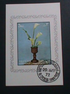 SHARJAH- AIRMAIL 1972 LOVELY WHITE FLOWERS -IMPERF :CTO S/S SHEET-VERY FINE