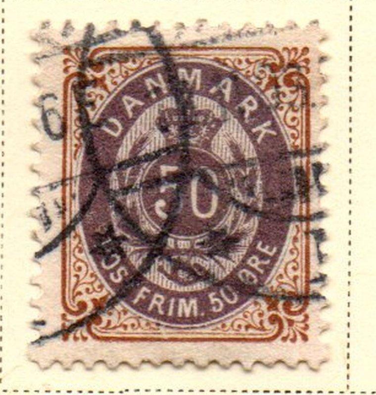 Denmark Sc 51 1897 50 ore brown & violet stamp used