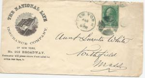 NATIONAL LIFE INSURANCE COVER US Postage 1870 Scott A46 - 136 3 Cent Green NY NY